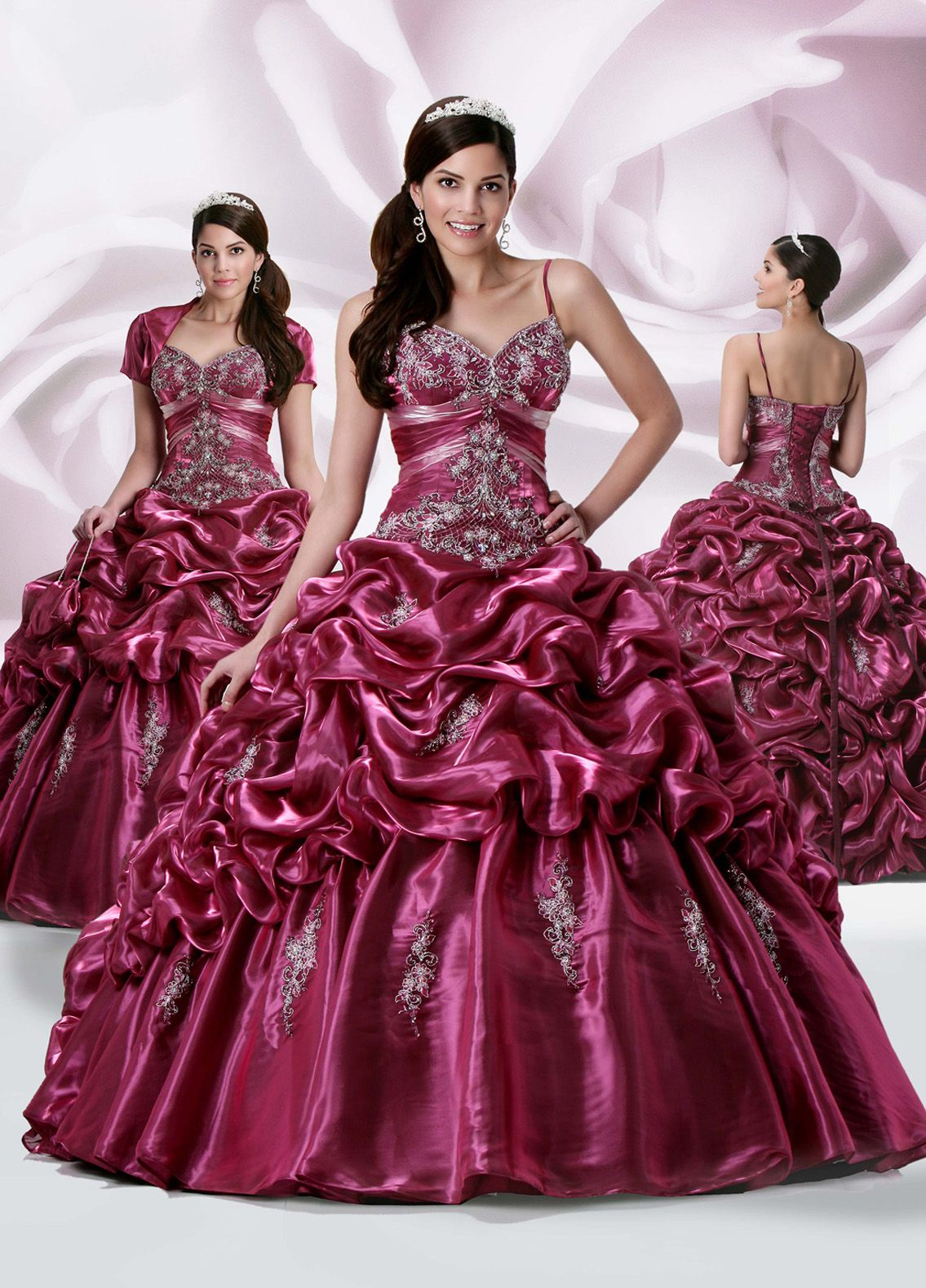 Fuchsia ball gown spaghetti straps and sweetheart lace up floor