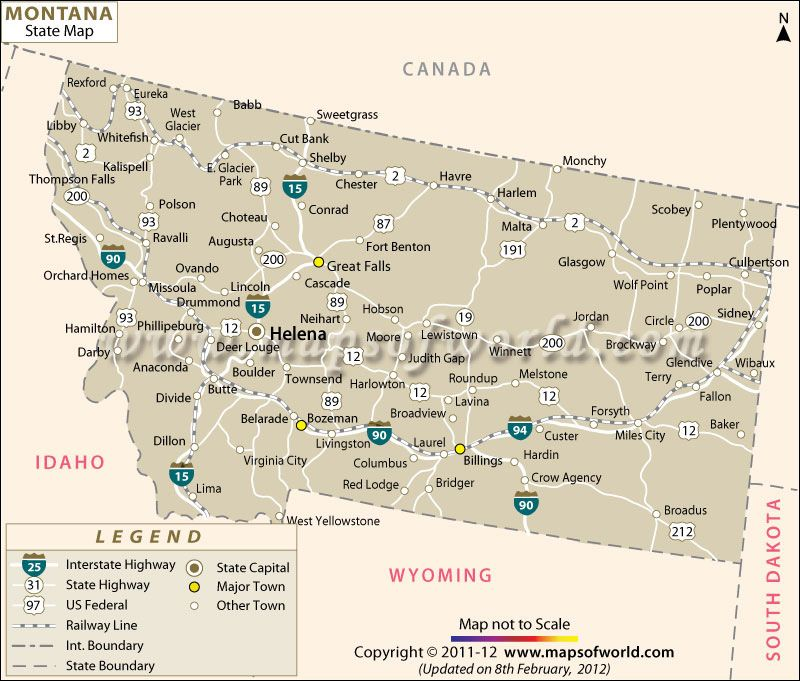 Map of Montana | Vacation spots | Montana state map, State map, Montana