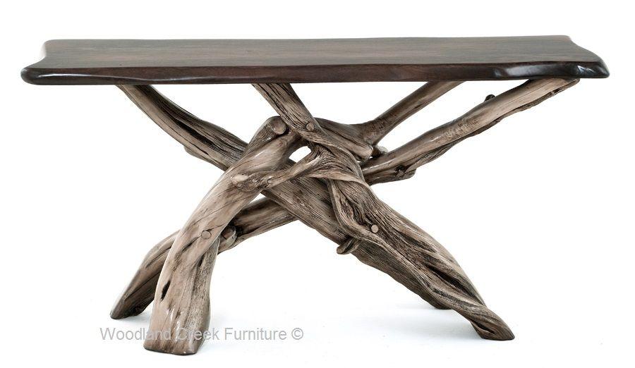 Driftwood Sofa Table Organic Natural Wood Beach