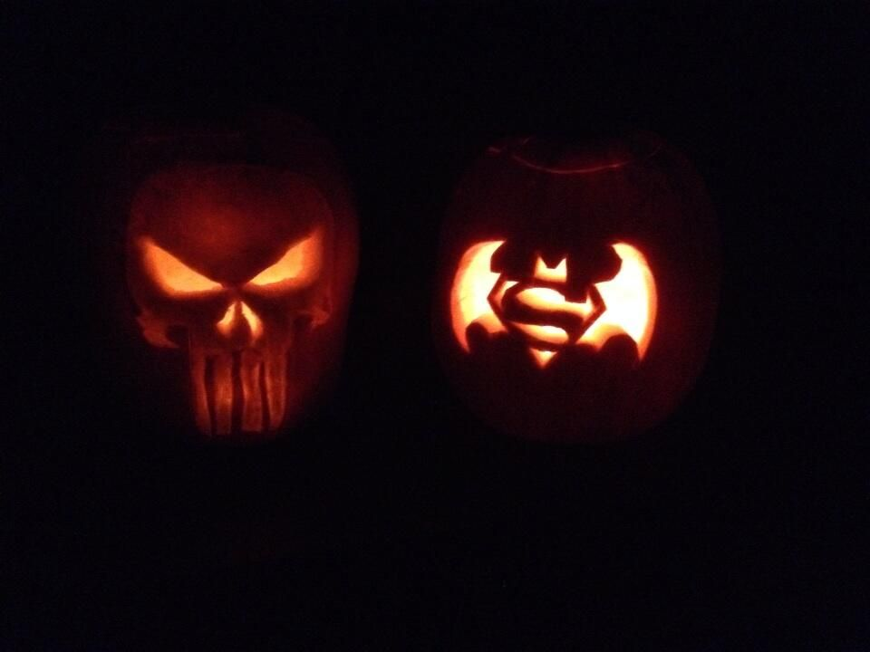 Nerd Pumpkins Punisher Superman Batman Jack O Lanterns