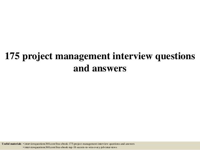 wwwTheMarzettGroup Project Management 175 project management - interview question template