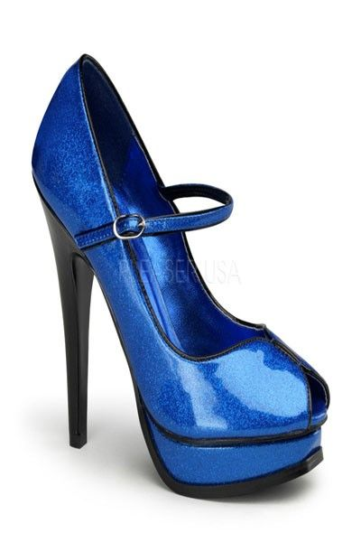 3c5747a882 Blue Pearl Glitter Peep Toe Mary Jane Pumps in 2019   Shoes i want ...