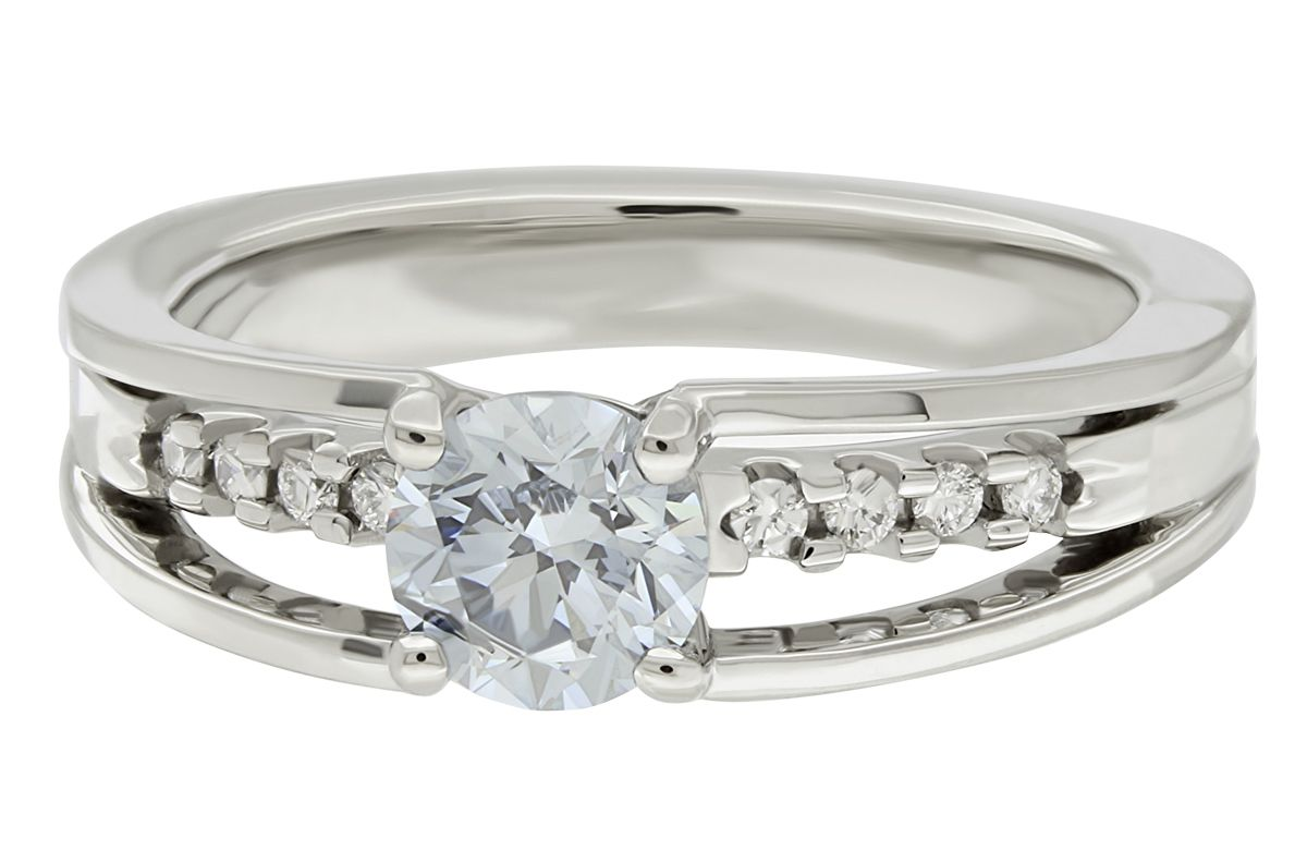 D.NEA custom designed arch engagement ring with blue lab ...
