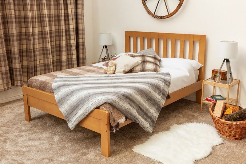Knutsford Oak Finish Wooden Single Double Bed Frame