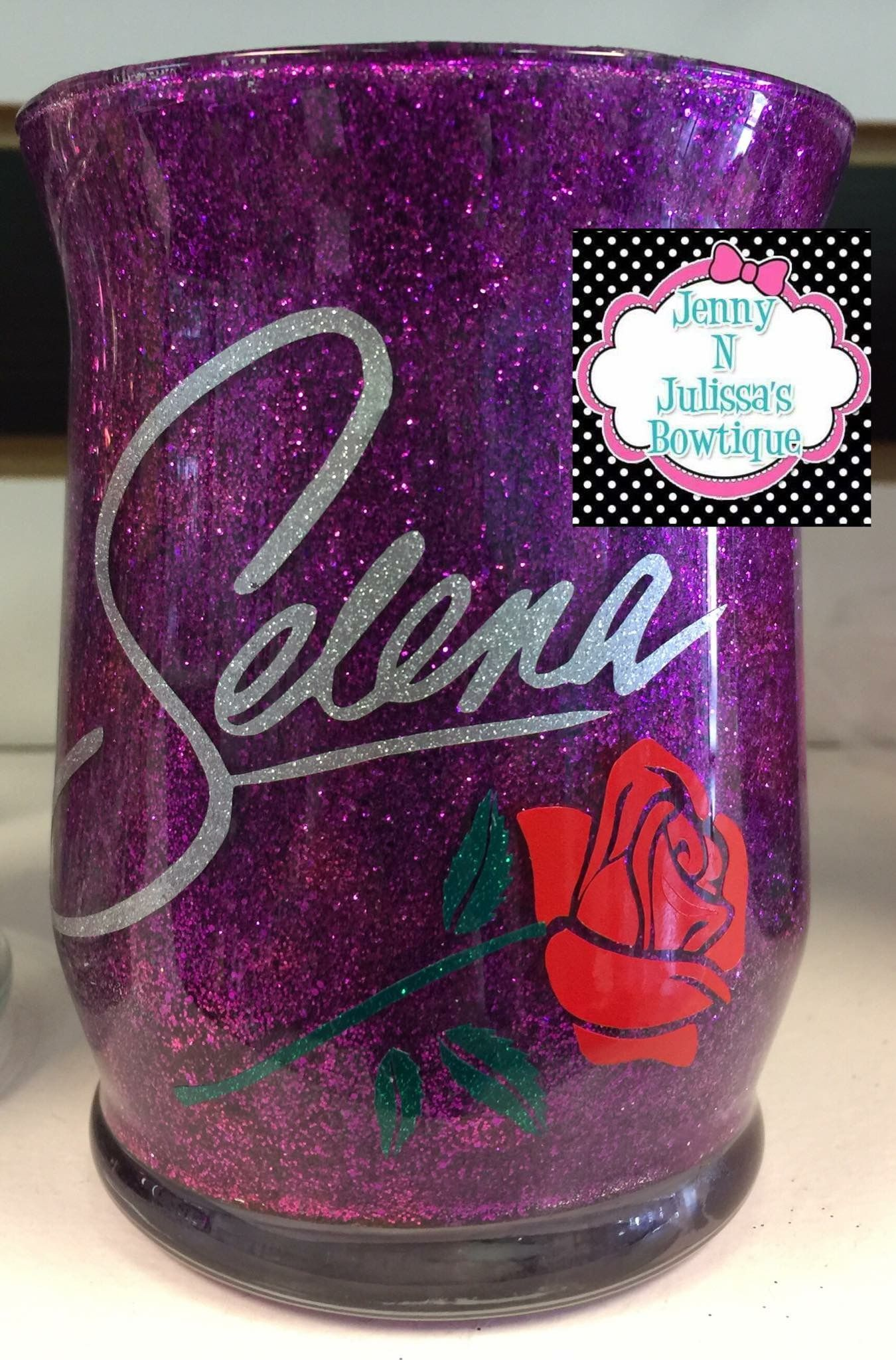 My daughter's purple glitter coated glass makeup cup! This