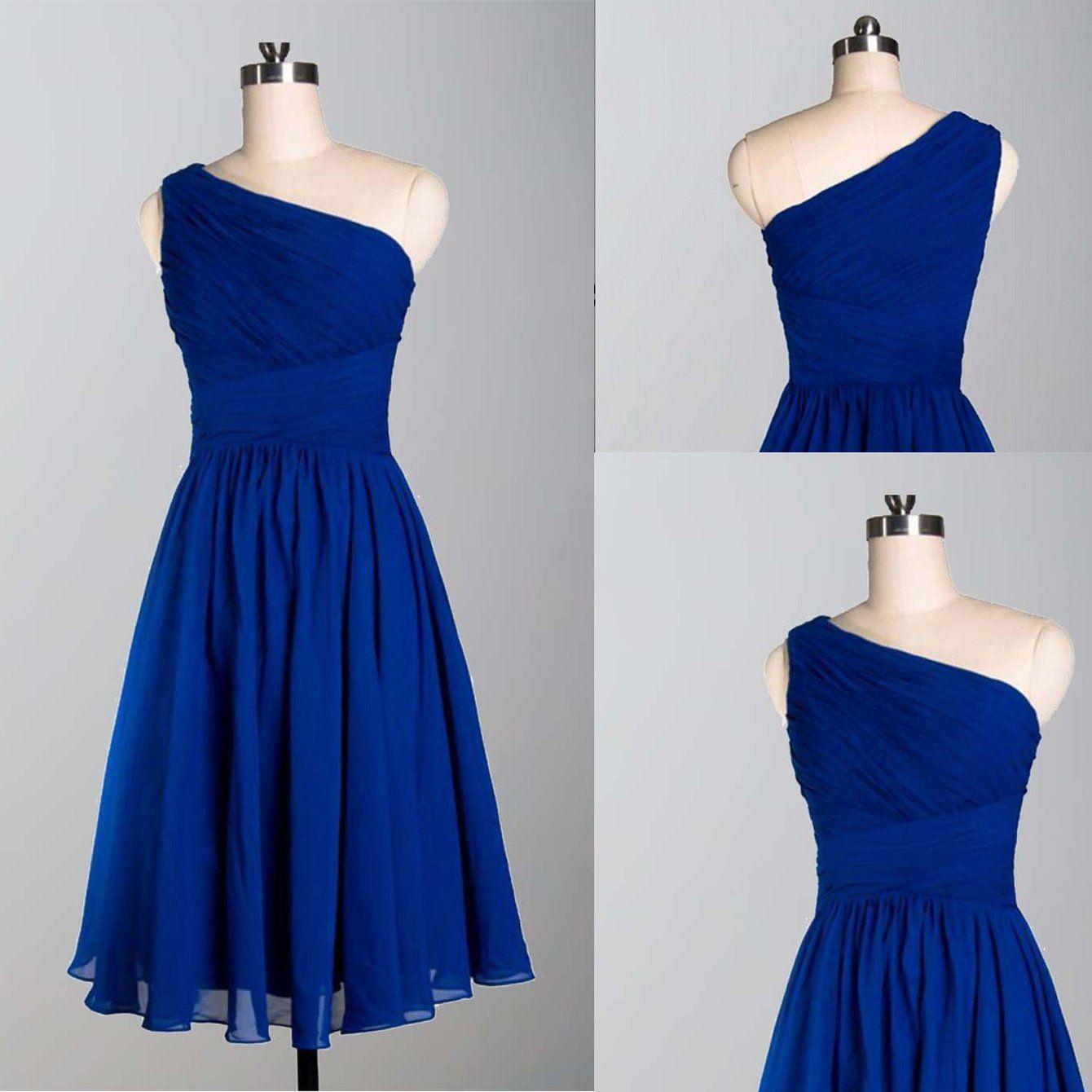 Royal blue bridesmaid dressshort bridesmaid dressone shoulder