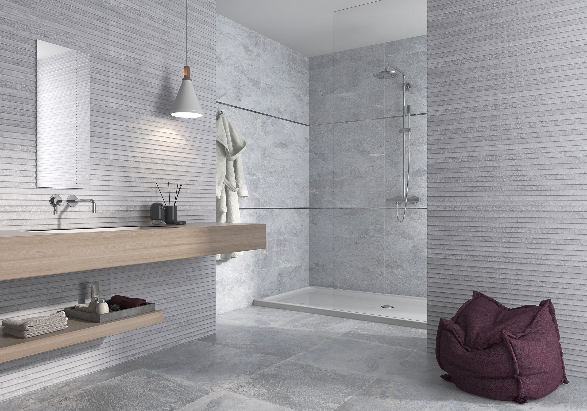 Vista By Fine In Grey Available In 20x20 10x20 And 10x10 Field Tile 1x1 Mosaic And 3x10 Bullnose Www Galleriastone Com Bagno Pavimenti