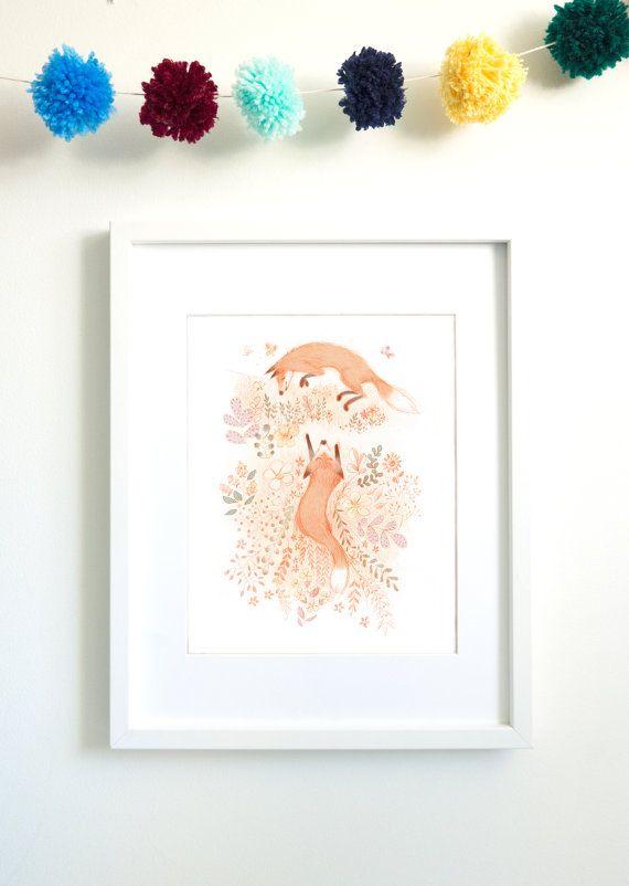 Renards Renard imprimé renard illustration giclée décoration