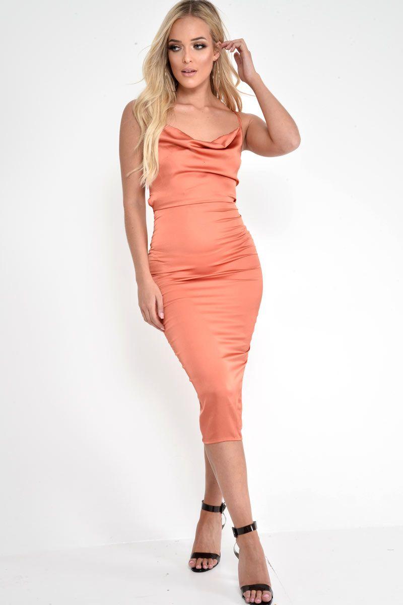 cf36fbf7808 Rust Satin Cowl Neck Midi Dress - Liliana
