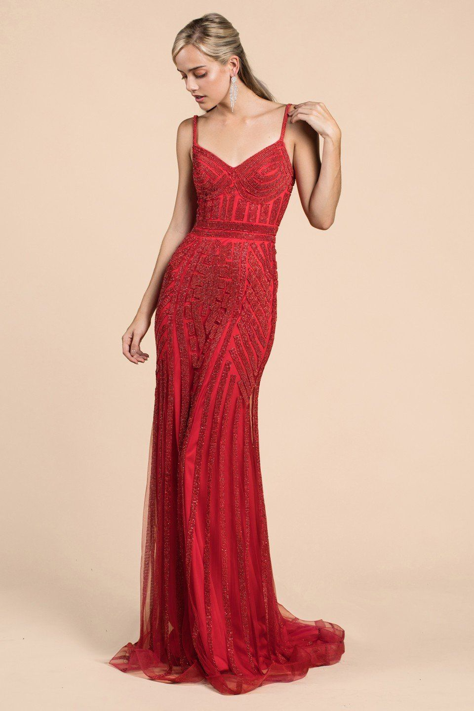 A red fitted prom dresses gowns and crystals