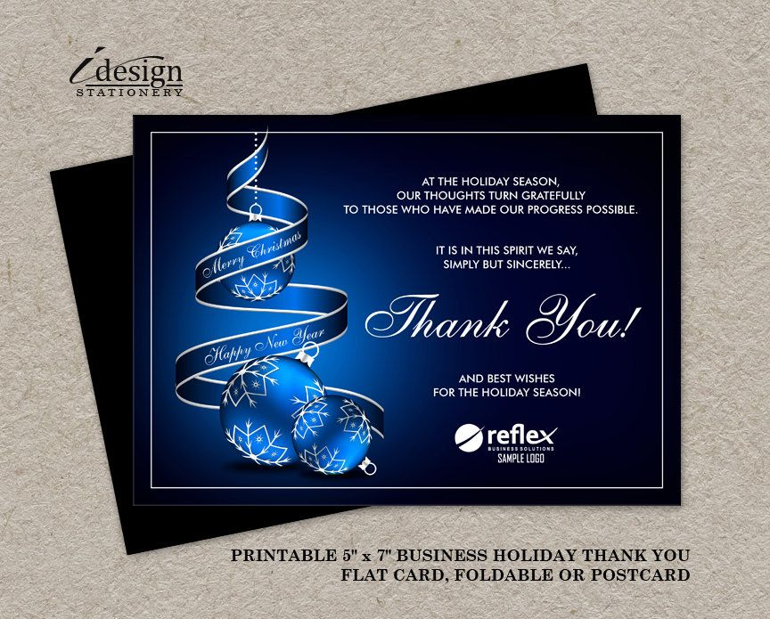 Business Christmas Thank You Cards With Company Logo Personalized Corporate Holid Corporate Holiday Cards Business Christmas Christmas Open House Invitations