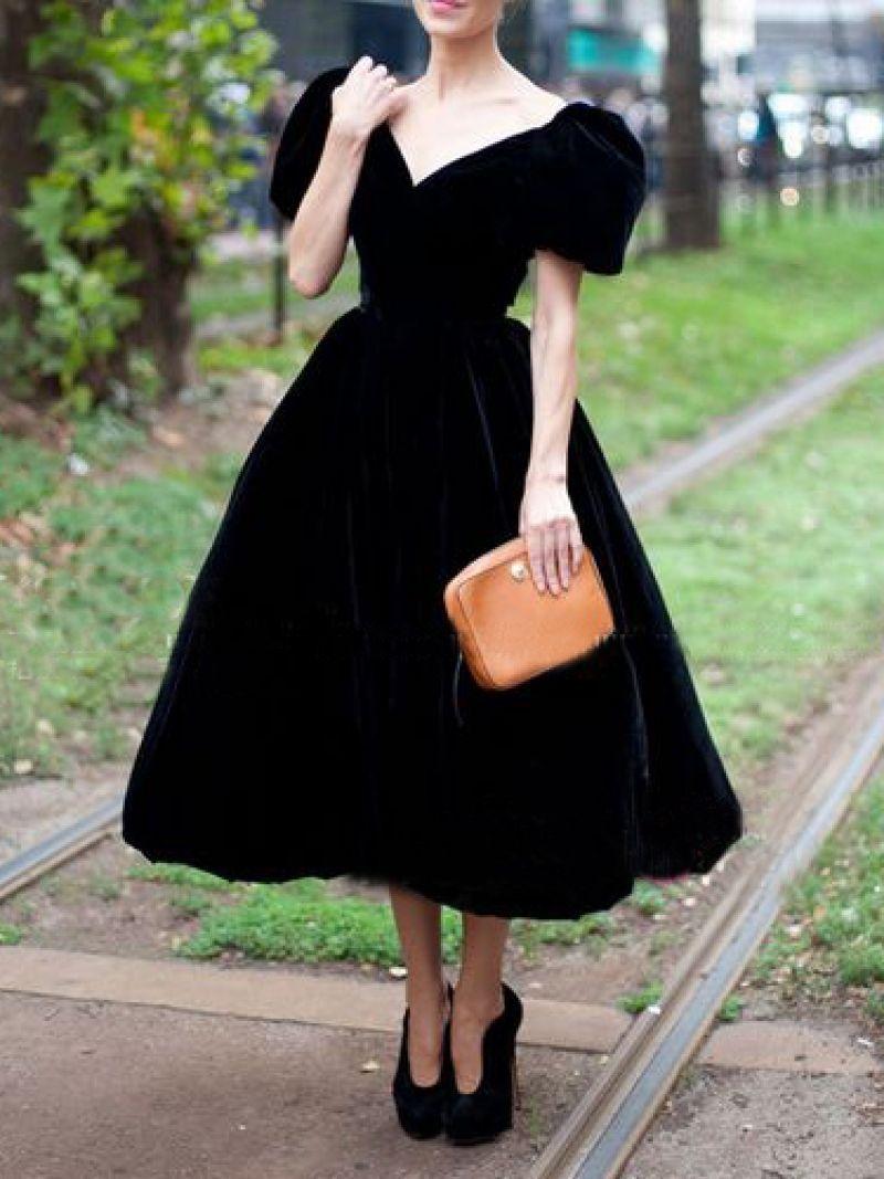 Black Velvet Bubble Sleeves A Line Prom Dresses Tea Length Formal Gown Sf0273 In 2021 Black Velvet Dress Fashion 50s Fashion Dresses [ 1067 x 800 Pixel ]