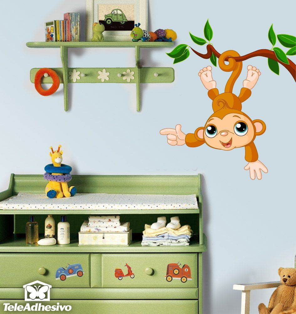 Kinderzimmer Wandtattoo Affe hängen von Ast | Haarideen ...