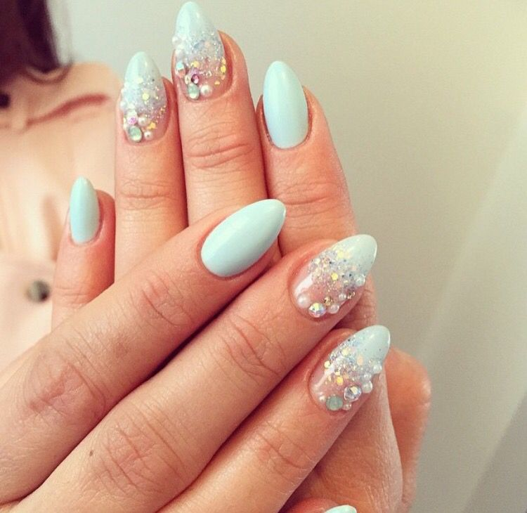 baby blue nails with diamonds | Nail designs | Pinterest | Baby blue ...