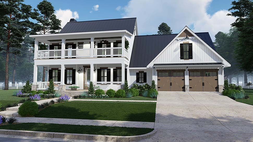 Southern Style House Plan 75157 With 3 Bed 3 Bath 2 Car Garage House Plans Farmhouse Two Story House Plans Family House Plans