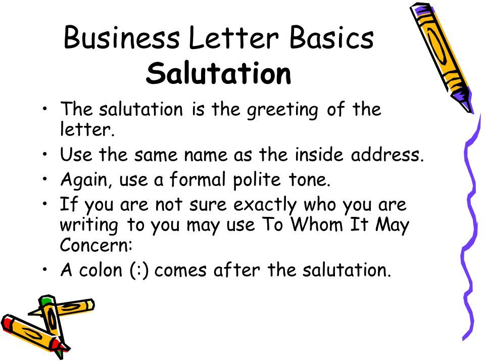 Business Letter Basics Where Does All Sample Salutation Examples