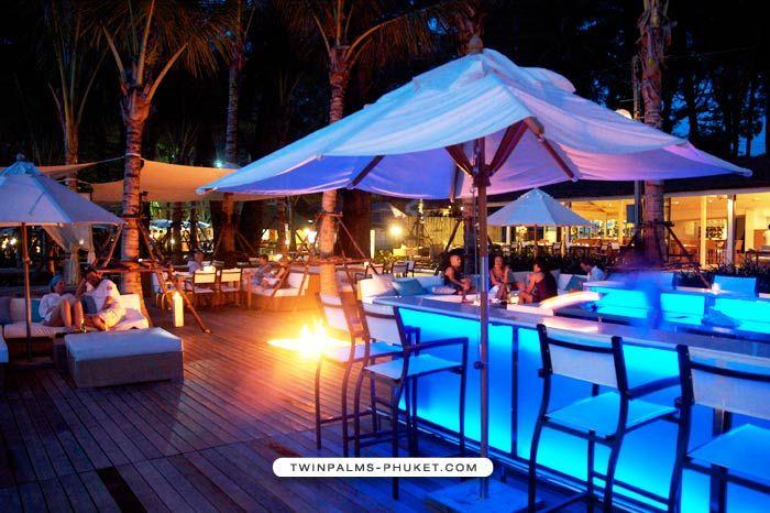 Glow bar, lounge furniture, umbrellas
