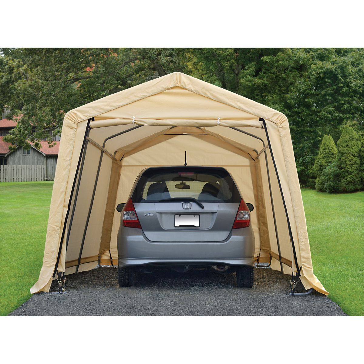 10 Ft X 17 Ft Portable Garage In 2020 Portable Garage Guest House Shed Camping Pod