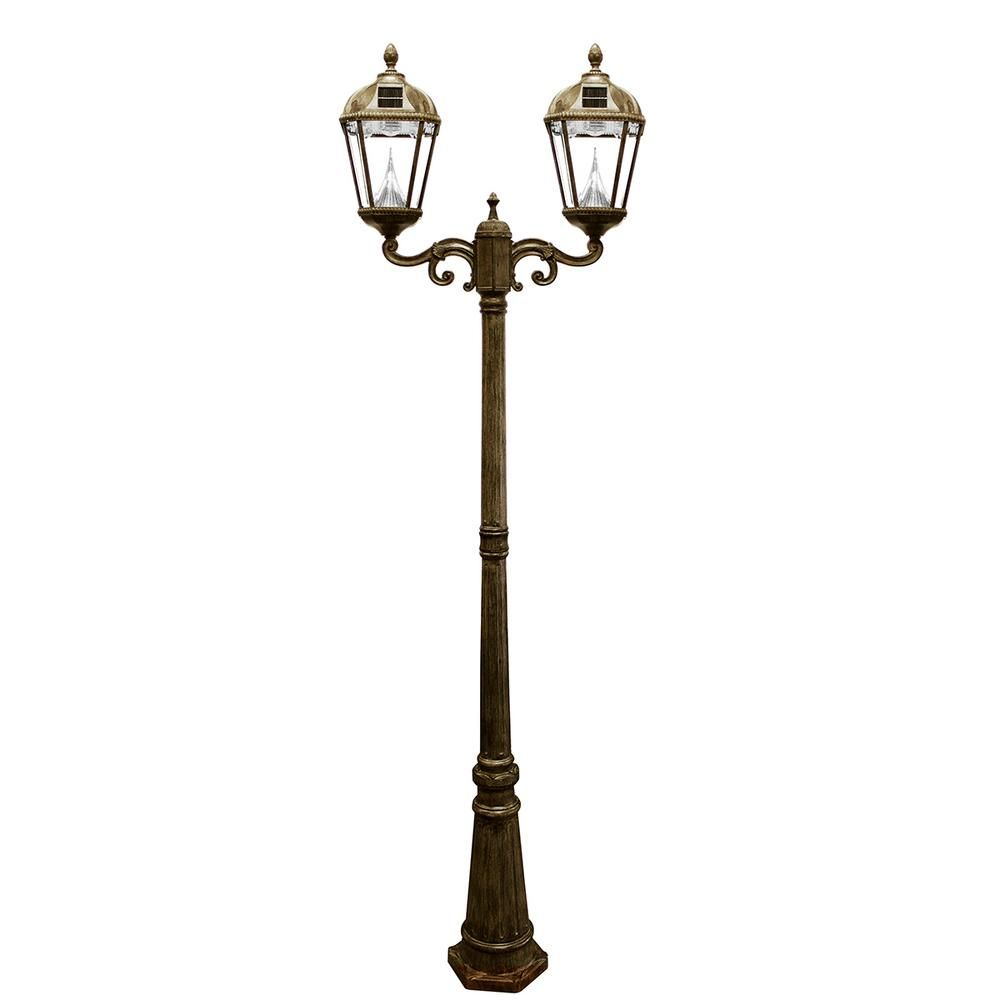 Gama Sonic Royal 2 Head Solar Weathered Bronze Outdoor Lamp Post Gs 98d Wb Patio Design