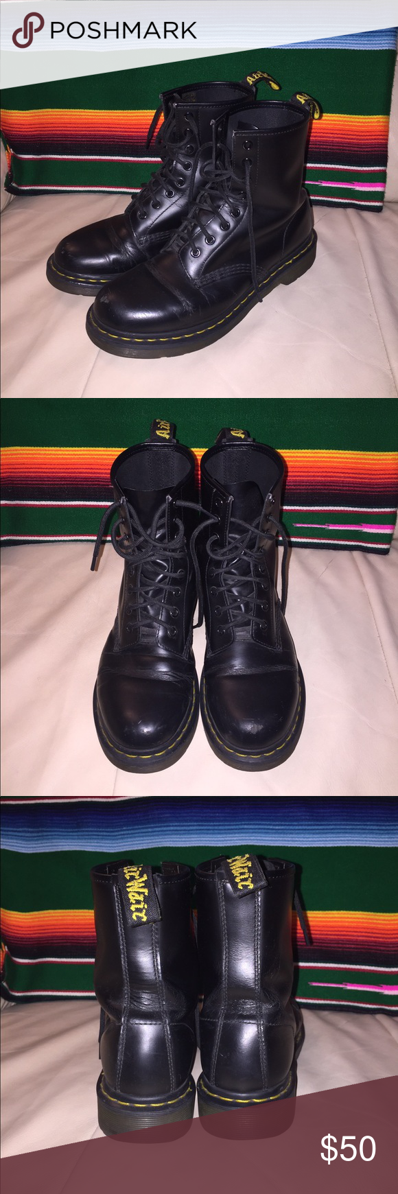 Doc Martens, Black, Women's 9/Men's 7 Black Doc Martens, Women's 9 or Men's 7. Made in Vietnam. Pre-owned....some scruffs on the toes and creasing from normal wear but still in overall excellent shape. Lots of miles left in these! Dr. Martens Shoes Combat & Moto Boots