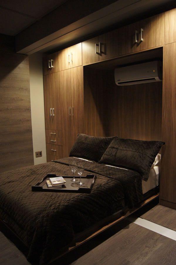 Departamento contenedor por taufic gashaan bedroom for Casa minimalista 90m2