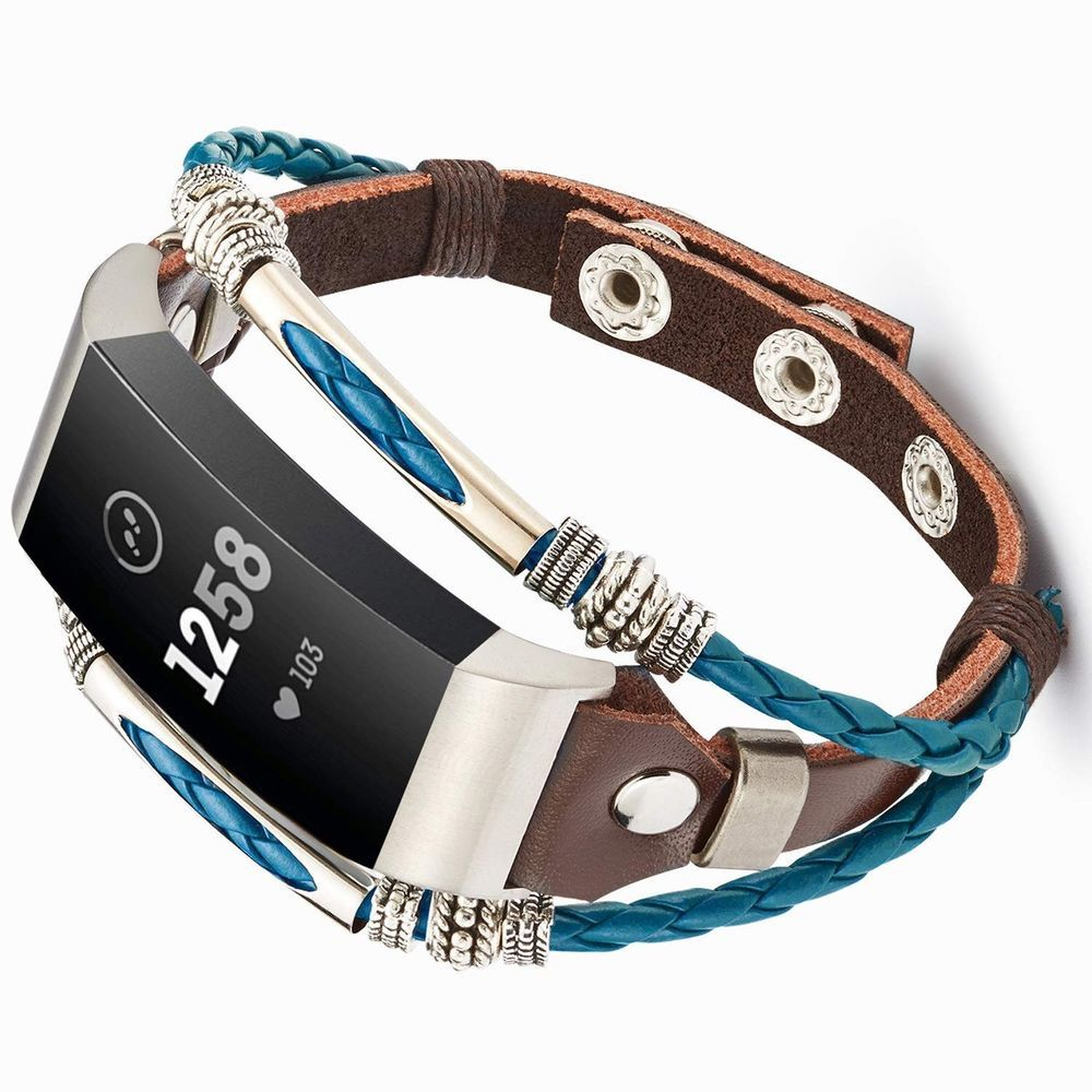 For Fitbit Charge 3 & SE Boho Band Genuine Leather Metal