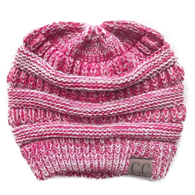 5b71ed49982eb Winter Caps CC Ponytail Beanie Women Hat Skullies Beanies Female Knit Warm  Caps Stylish Hats For Ladies Fashion Girl Knitted Cap