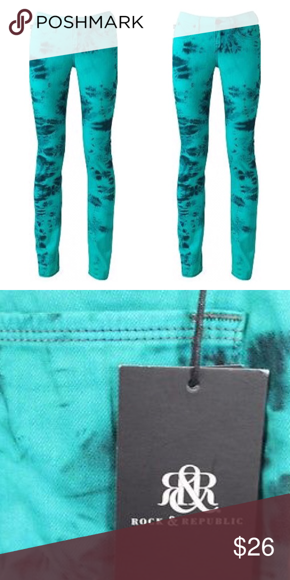 $88 NWT Rock /& Republic BERLIN Tie-Dye Denim Low Rise Skinny Jeans