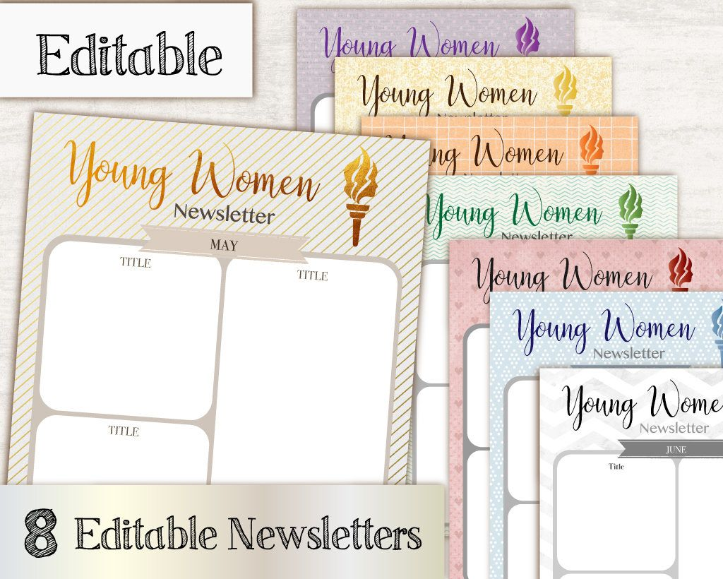 Instant Download Editable Newsletter Young Women Pdf Editable