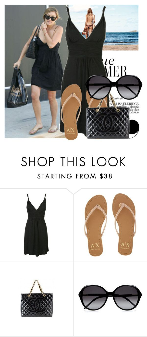 """""""Lauren Conrad in a black dress"""" by ivanoe ❤ liked on Polyvore featuring Lauren Conrad, Wet Seal, Armani Exchange, Chanel and Chloé"""