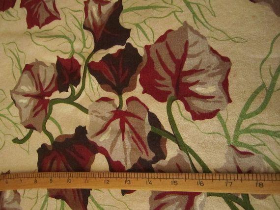 1940s Vintage BARKCLOTH botanical vine by CarliBeardsleyStudio, $20.00