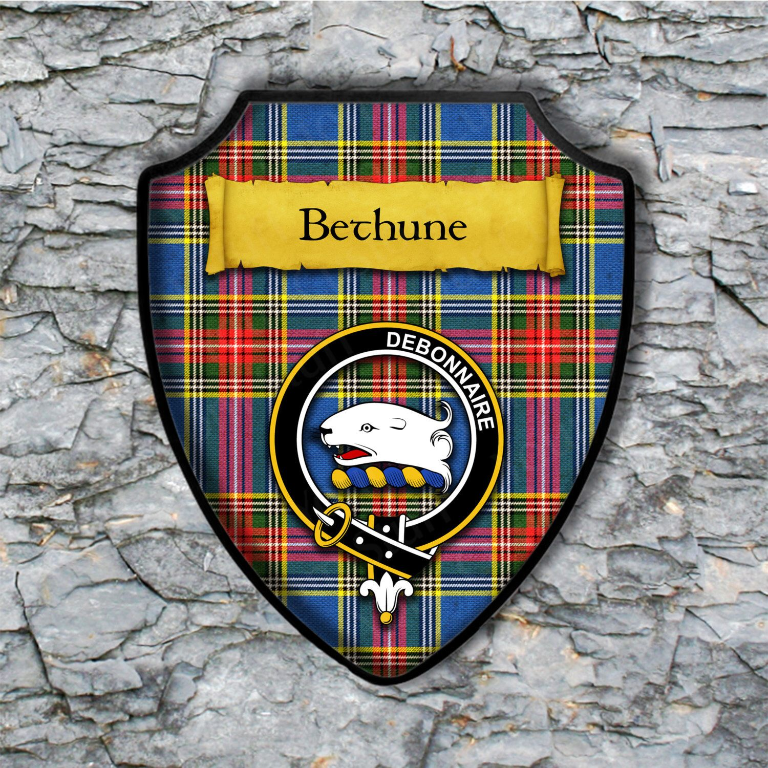 Bethune or MacLean Plaque with Scottish Clan Badge on Clan Tartan Background by YourCustomStuff on Etsy https://www.etsy.com/listing/262513395/bethune-or-maclean-plaque-with-scottish