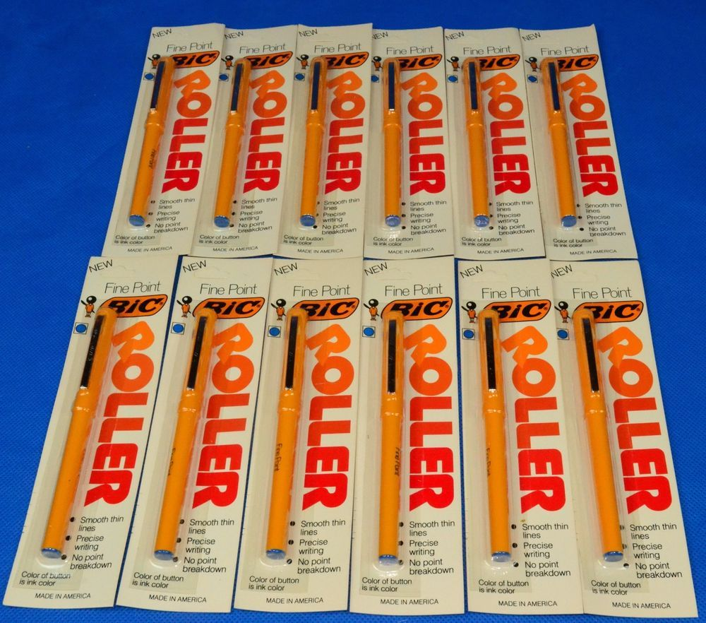 (12) Bic ROLLER Pen Fine Point Capped - Yellow Pen - Blue Ink - New Old Stock #Bic
