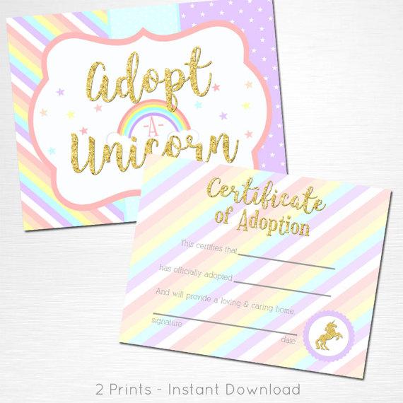 Adopt a Unicorn Certificate Unicorn Rainbow Birthday Party Printable