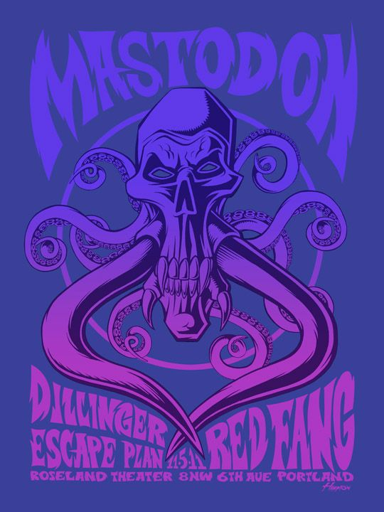 Mastodon Variant Print 2 Color Screen With Split Fountain Blend On Metallic Sapphire 100