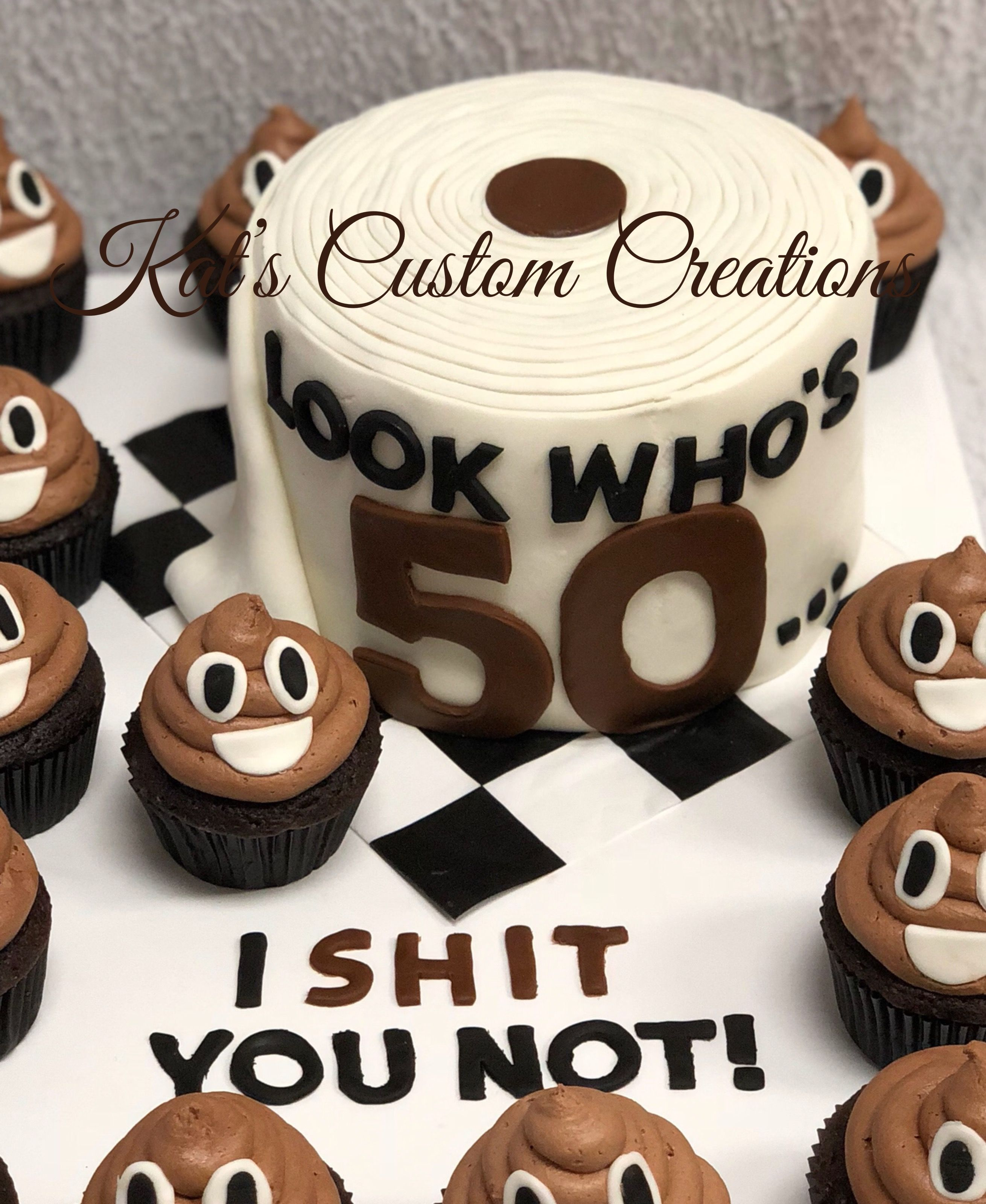 Toilet Paper Cake With Emoji Poop Cupcakes Funny 50th Birthday Cakes