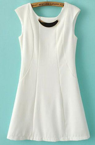 SUMMER NEW ARRIVAL FASHION LADIES' PURE WHITE METAL INLAY ROUND NECK SLEEVELESS HALTER DRESS ST2661
