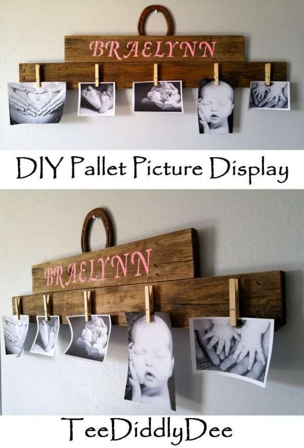 DIY Rustic Pallet Wood Picture Display | Picture on wood ...
