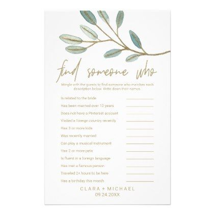 Gold Veined Eucalyptus Find Someone Who Flyer Wedding Gifts Customize Marriage Diy Unique