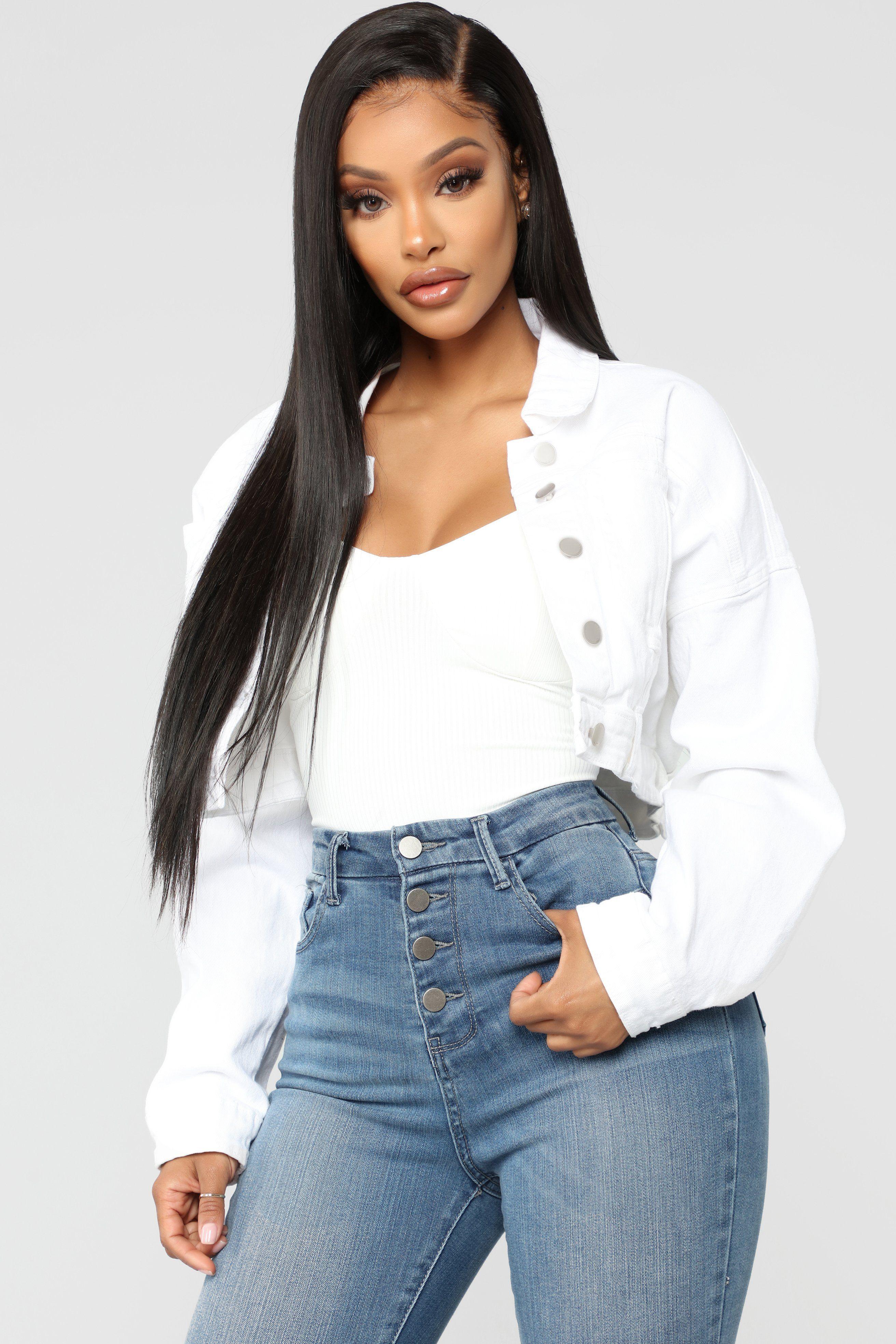 Elsie Denim Jacket White White Denim Jacket Outfit White Denim Jacket White Jean Jacket Outfits [ 3936 x 2624 Pixel ]