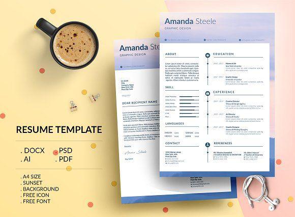 Sunset Cv Resume Template N Cv Resume Template Resume Template Resume