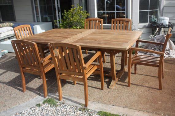 grade a teak patio set extendable table with hidden butterfly rh id pinterest com