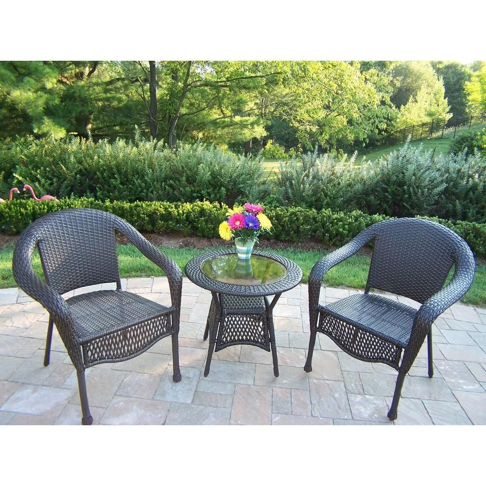 Oakland Living Elite 3-Piece Wicker Patio Bistro Set-90048 ... on Outdoor Living Wicker  id=20636