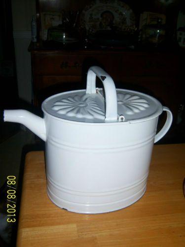 Vintage White Graniteware Enamel Water Can Large