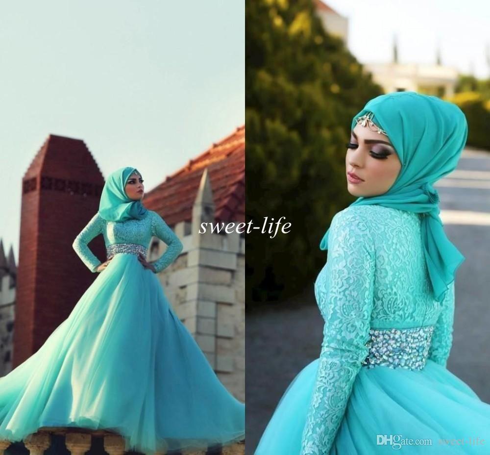 Hijab Prom Dresses 2015 Muslim Long Sleeve Green Beads Sash Lace ...