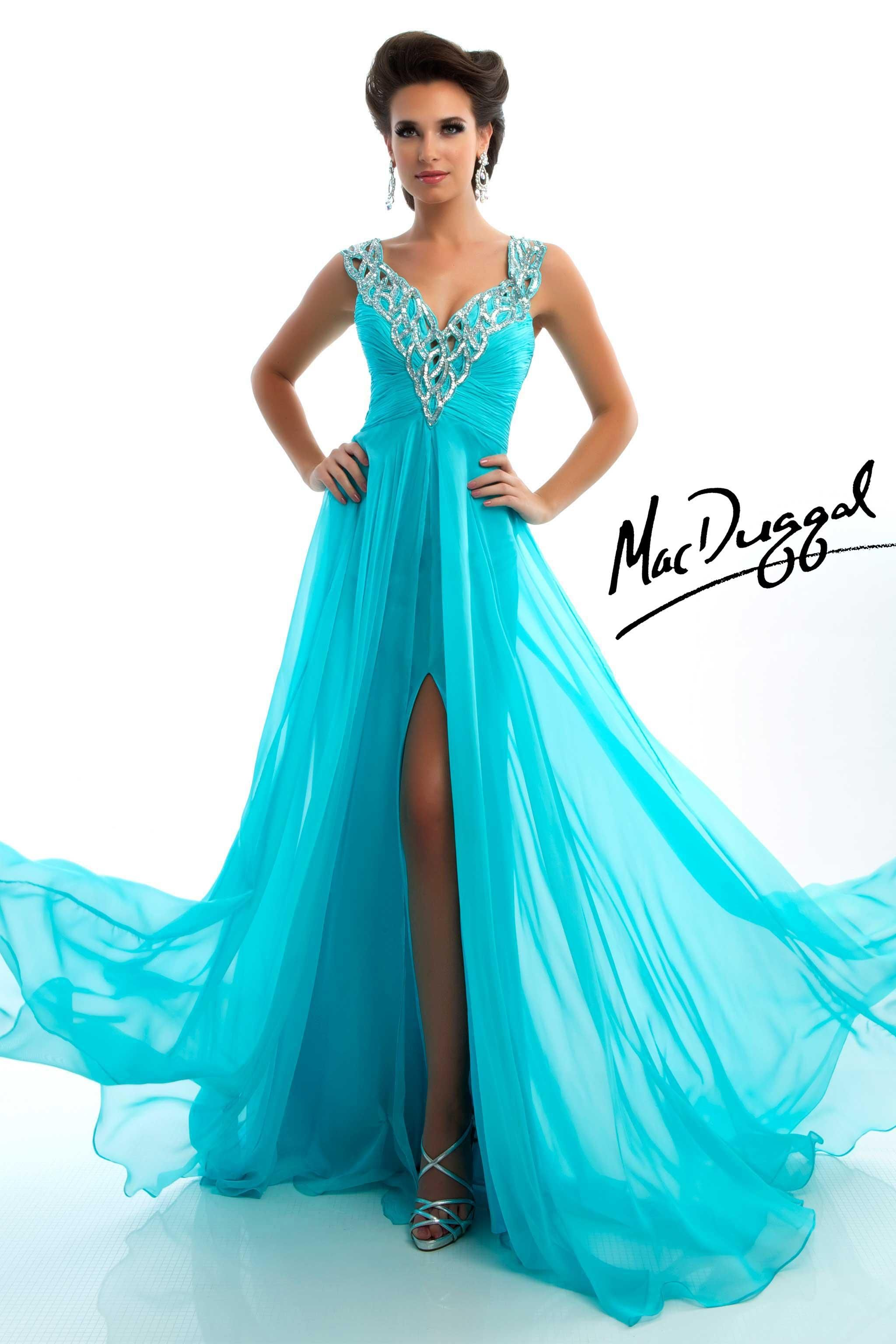 Aqua Prom Dress with V-Neck and Braided Straps-Mac Duggal 6272L ...