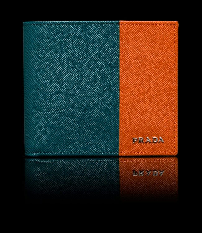 Two-tone leather wallet by Prada