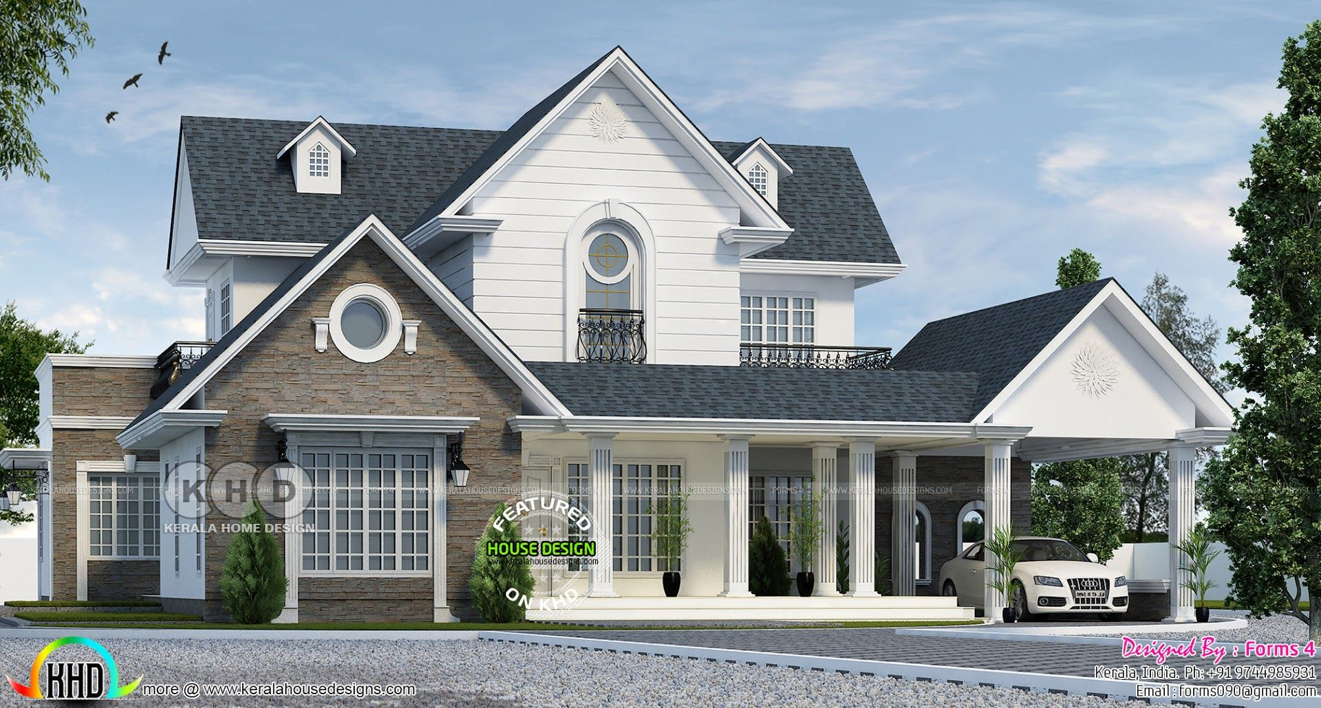 European Colonial Style House In 2020 Colonial Style Homes Colonial House Plans Kerala House Design