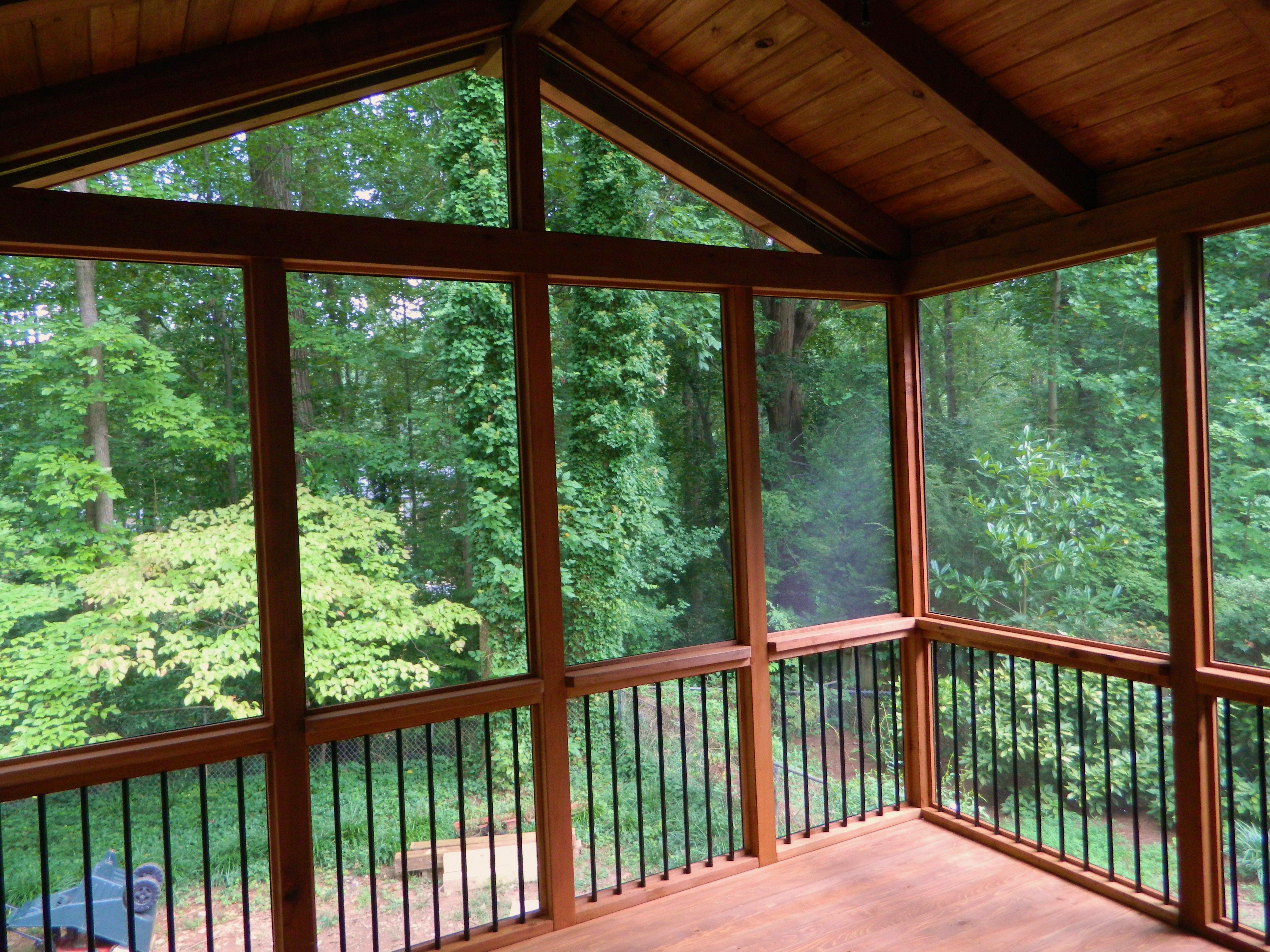 Barefoot decks screen room in marietta ga cedar walls for Cypress porch columns