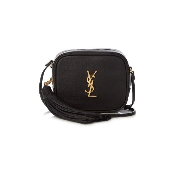 Saint Laurent Monogram Blogger leather cross-body bag ($995) ❤ liked on Polyvore featuring bags, handbags, shoulder bags, black, leather cross body handbags, cross-body handbag, leather crossbody purses, leather purses and monogrammed crossbody